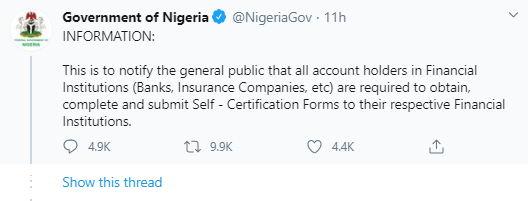 FG Ask Bank Account Owners To Undergo Compulsory Registration Exercise Different From BVN, Nigerians React