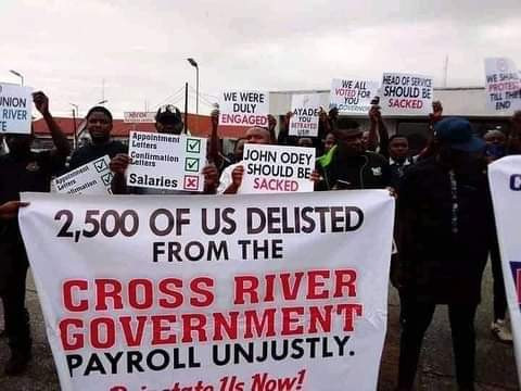 Woman Slumps During Protest Against Sack By Cross River State Government