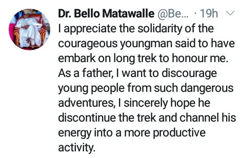 """""""Channel Your Energy Into A More Productive Activity"""" - Governor Matawalle Advises Man Trekking From Kaduna To Zamfara For Him 7"""