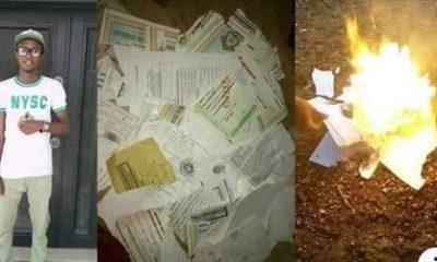 Angry Graduates Sets All His Certificates Ablaze Over Failure To Get A Job (Photos)