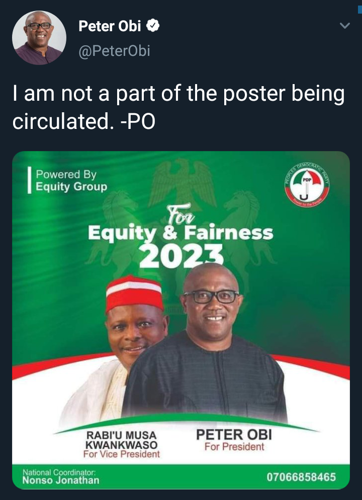 Peter Obi For President Poster Surfaces Online, He Reacts