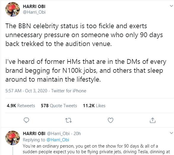 Former BBNaija Housemates Are Begging Brands For Jobs, Sleeping Around To Maintain The Lifestyle - Media Personality, Harri Obi
