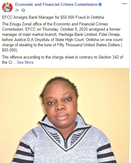 EFCC Arraigns Former Bank Manager For $50,000 Fraud In Onitsha (Photo)