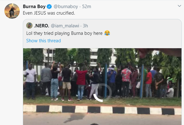"""Even Jesus Was Crucified"" - Burna Boy Says After #EndSARS Protesters Rejected His Song (Video) 3"