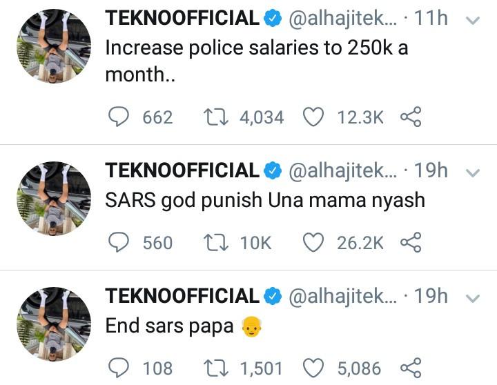 """Increase Police Salaries To N250k"" - Tekno Tells FG"