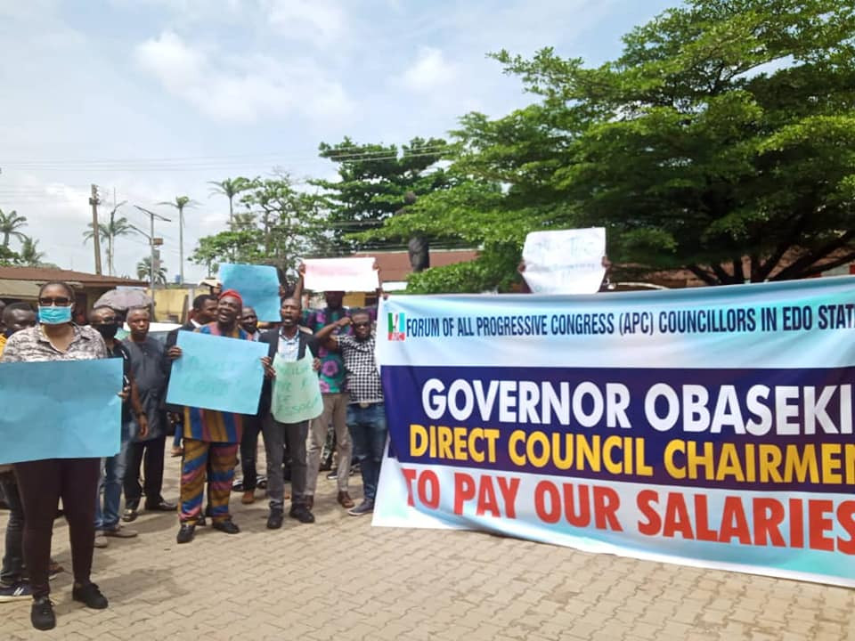 Edo APC Councilors Protest Over Alleged Non-Payment Of Five Months Salaries