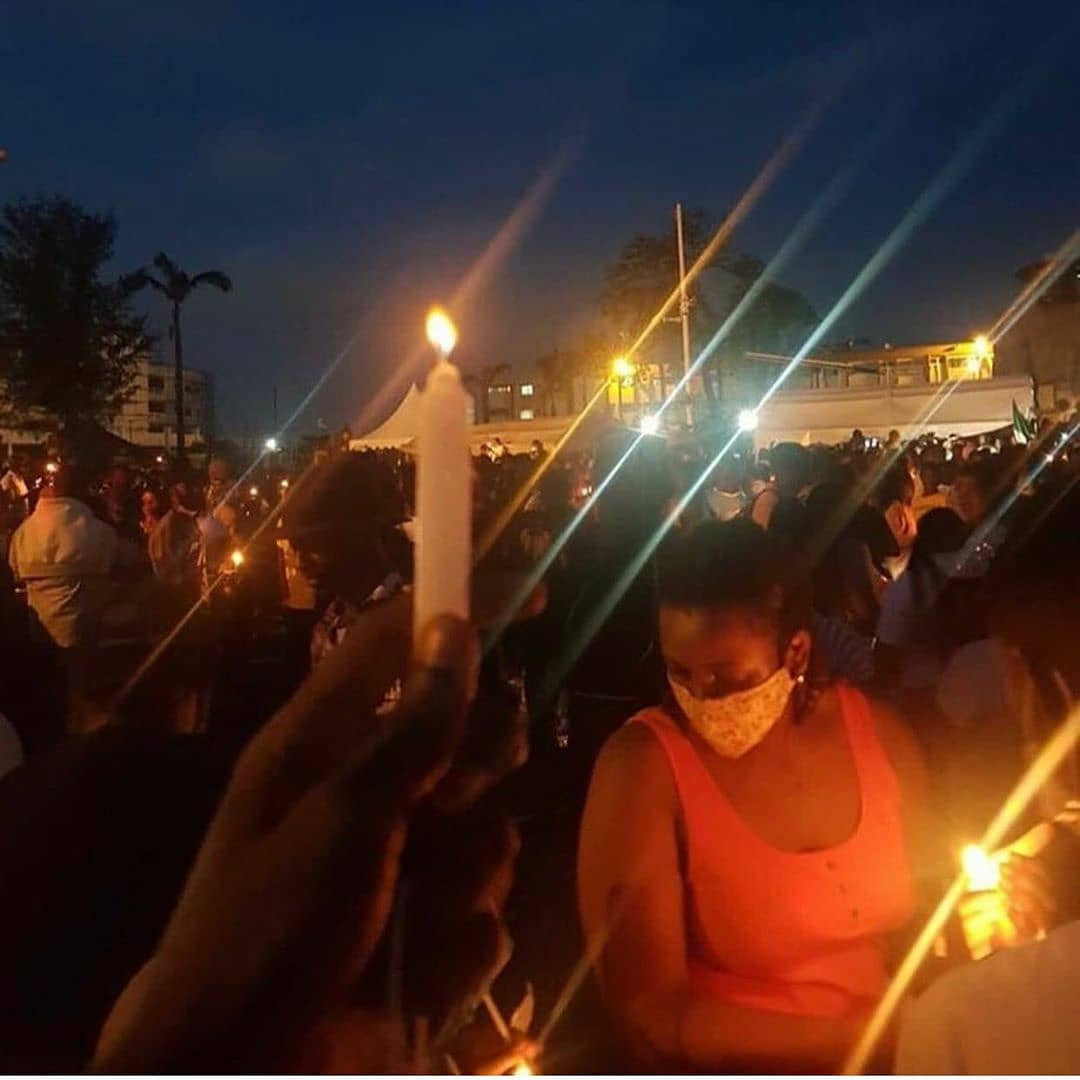 #EndSARS: Protesters Hold Candlelight Session In Honor Of People Killed As A Result Of Police Brutality (Photos)
