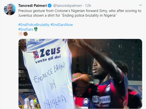 Nigerian Striker, Simeon Nwankwo Shows Support For #EndSARS Campaign After Scoring Against Juventus 3