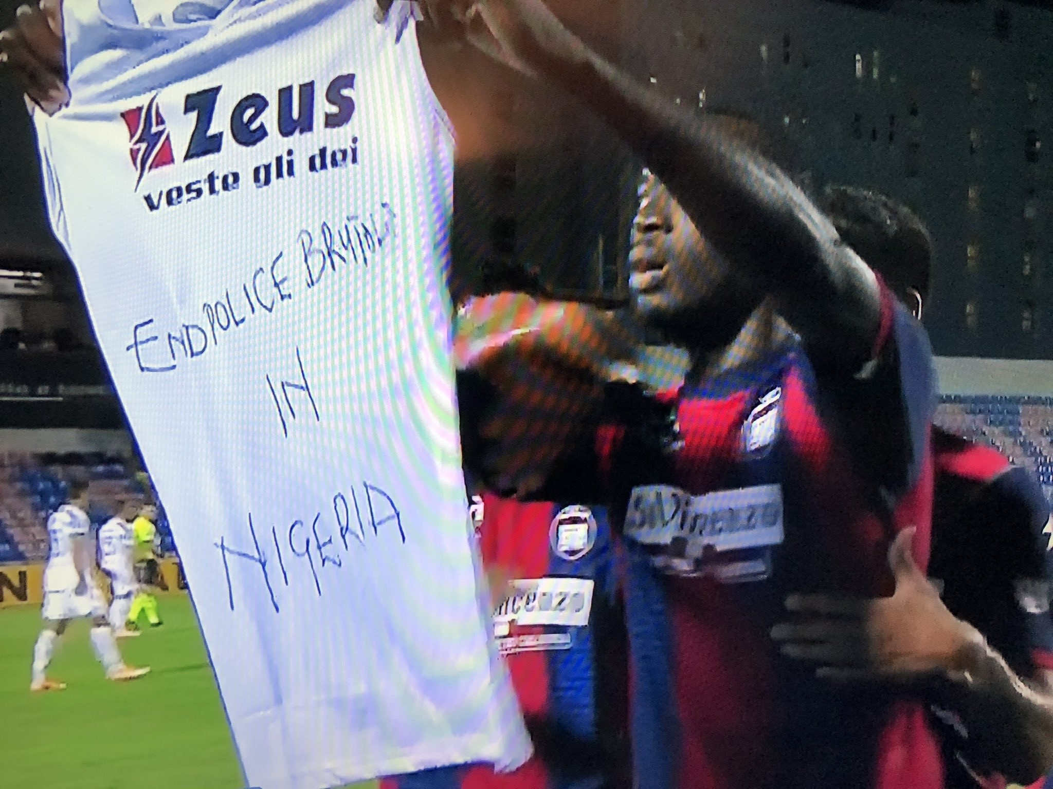 Nigerian Striker, Simeon Nwankwo Shows Support For #EndSARS Campaign After Scoring Against Juventus
