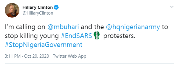 Hillary Clinton Tells Buhari And Nigerian Army To 'Stop Killing Young Nigerian #EndSARS Protesters'