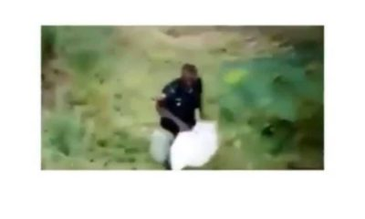 Policeman Seen Moving Through The Bush After Looting Food Items In Abuja (Video) 3