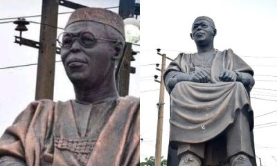 Hoodlums Steal Spectacles From Obafemi Awolowo's Statue (Photos)