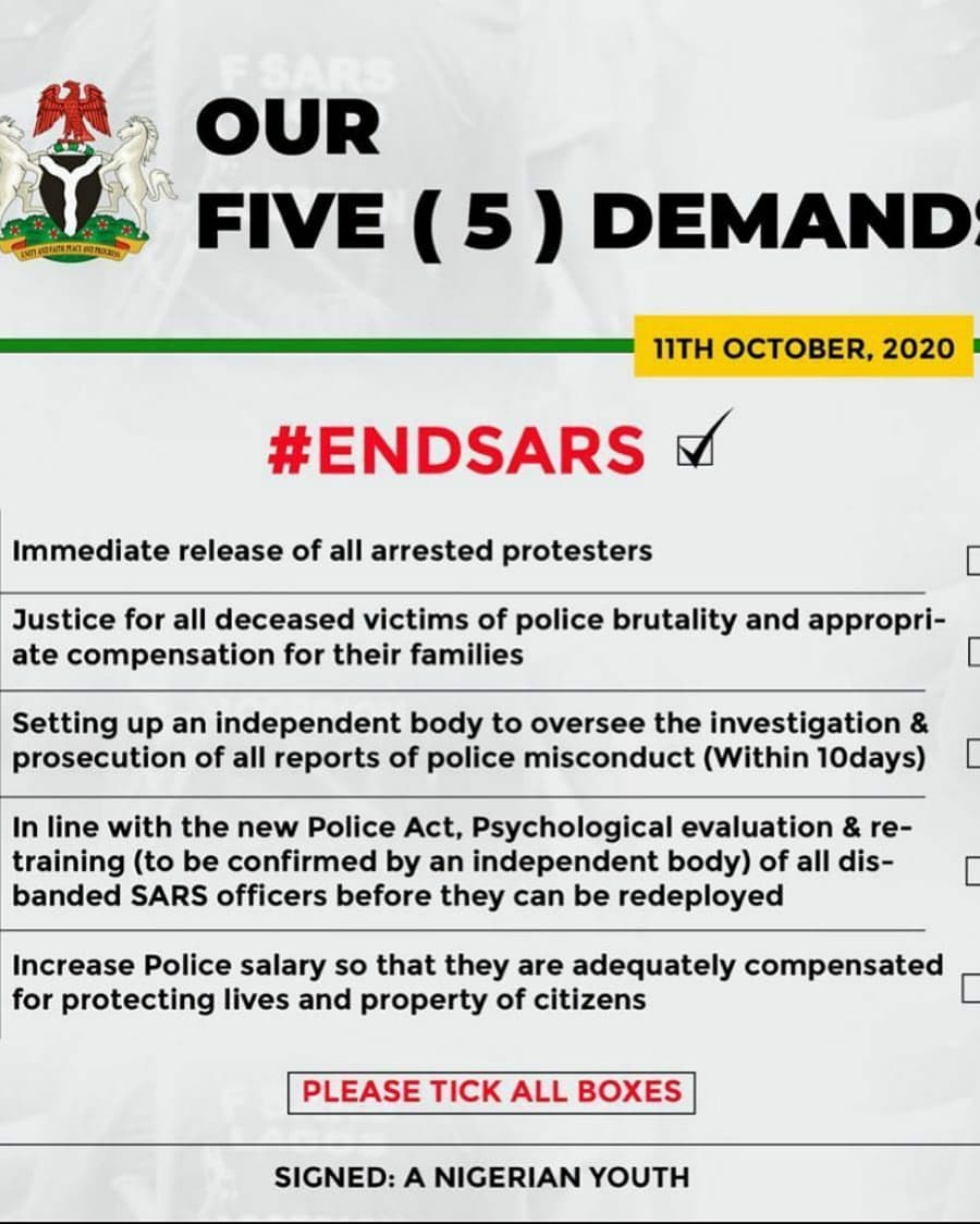 5 Demands Of #EndSARS Protesters Approved By Presidential Panel 3