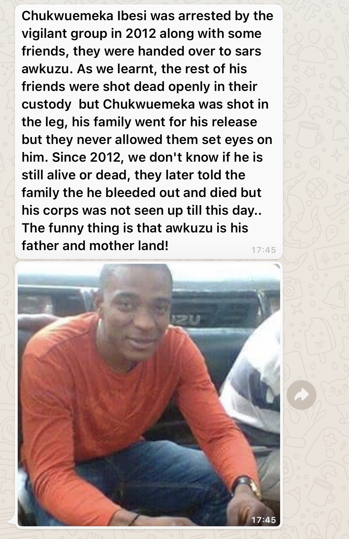 "#EndSars: ""Chukwuemeka Ibesi Never Returned After Being Arrested By SARS In 2012"" - Family Member Tells Cliq 5"