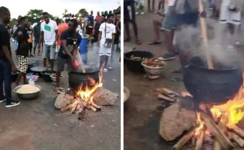 #EndSARS Protesters Seen Cooking Jollof Rice On Expressway (Video)
