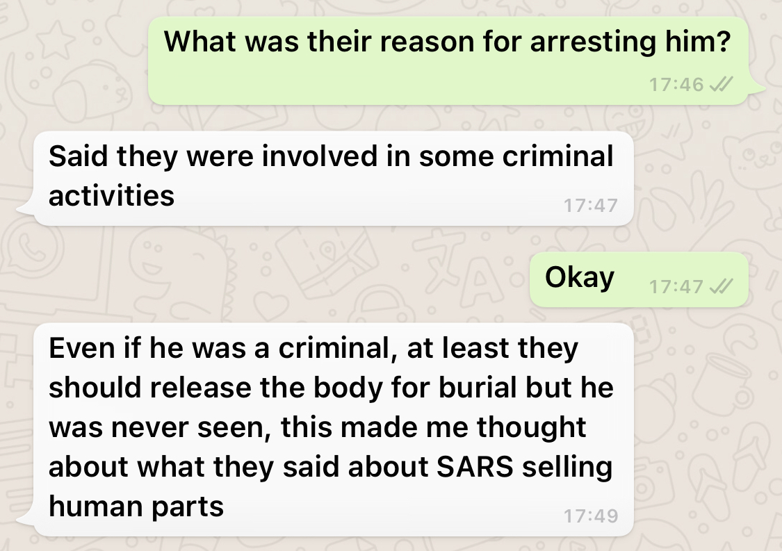 "#EndSars: ""Chukwuemeka Ibesi Never Returned After Being Arrested By SARS In 2012"" - Family Member Tells Cliq 6"
