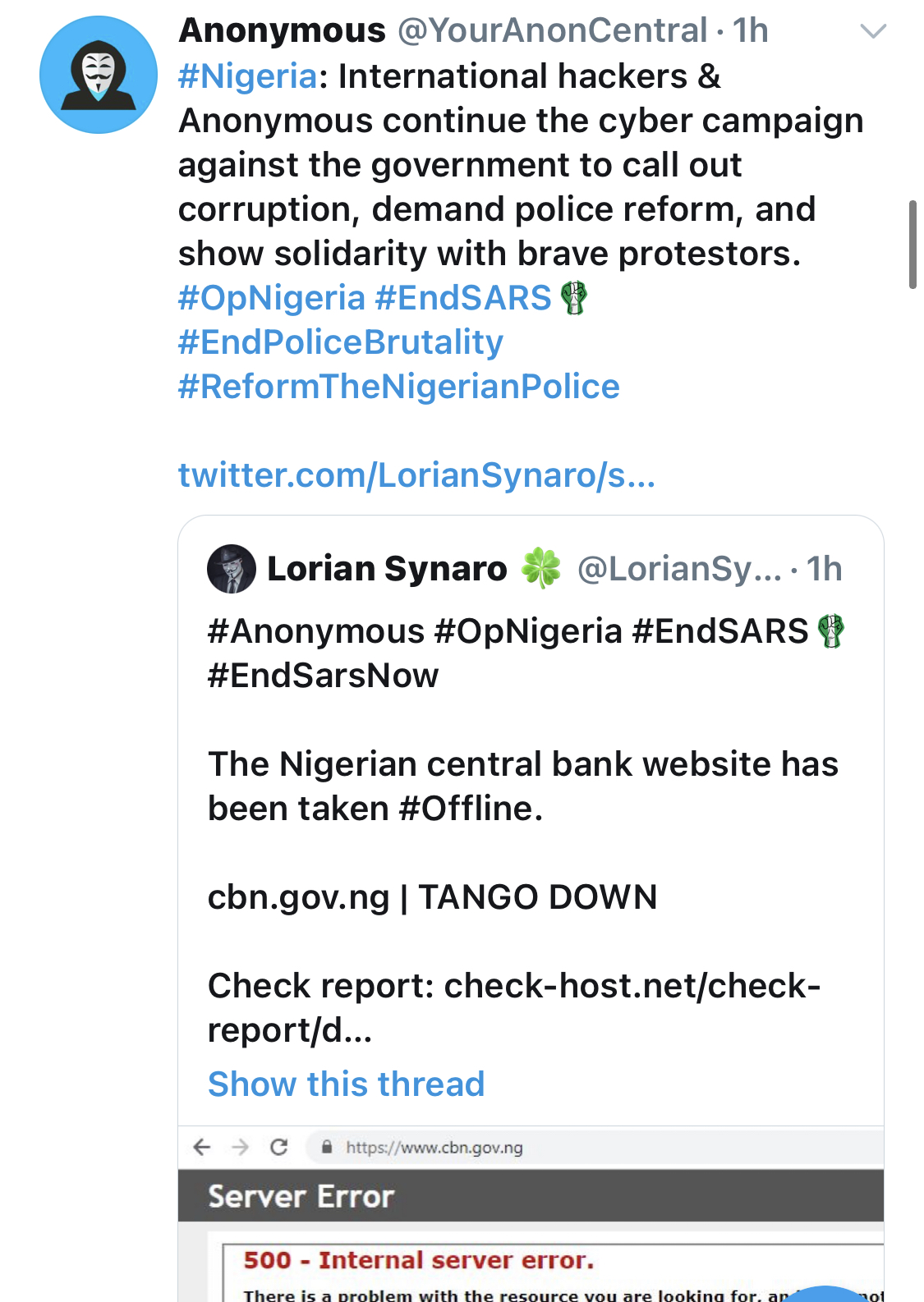#EndSARS: CBN Website Hacked By Anonymous
