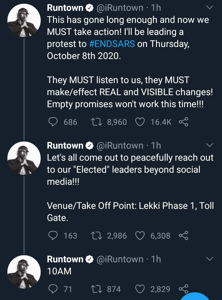 Runtown Organizes Protest Against SARS