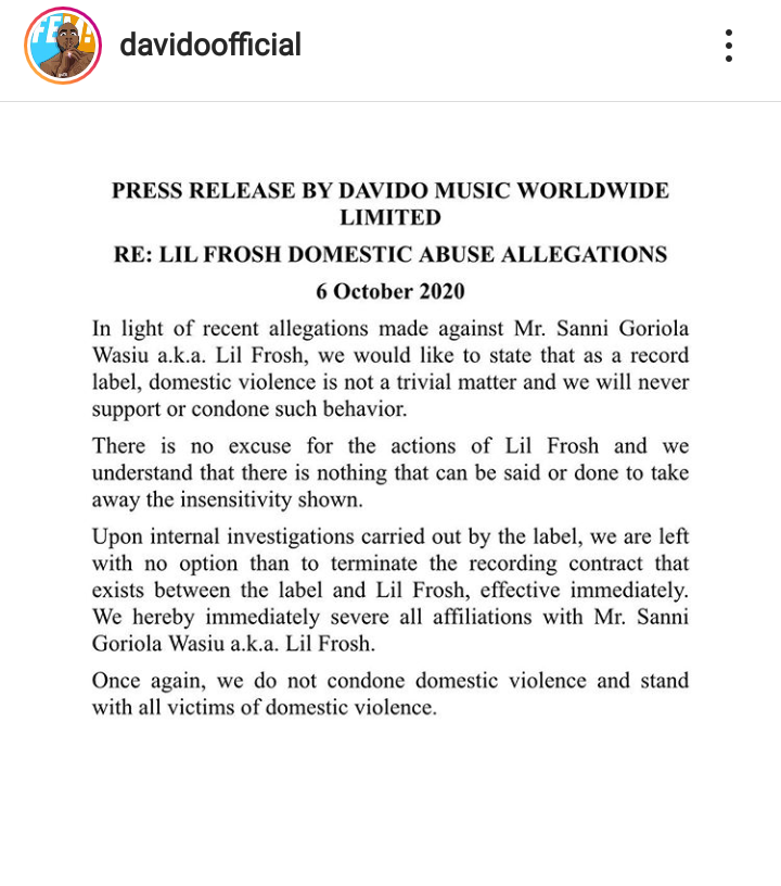 Davido Sacks Lil Frosh From DMW