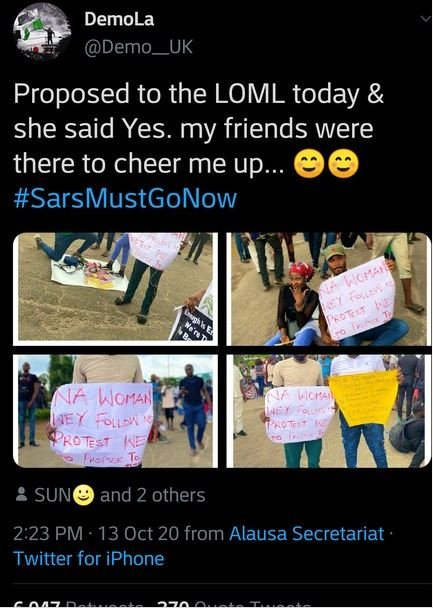 Man Proposes To His Girlfriend During #EndSARS Protest In Lagos (Photos)