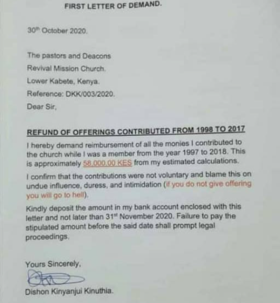 Man Writes Letter To His Church, Ask For Refund Of His Offerings From 1998 To 2017 6