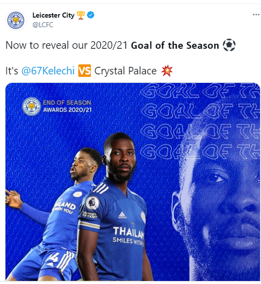 Kelechi Iheanacho wins Leicester City's goal of the season award